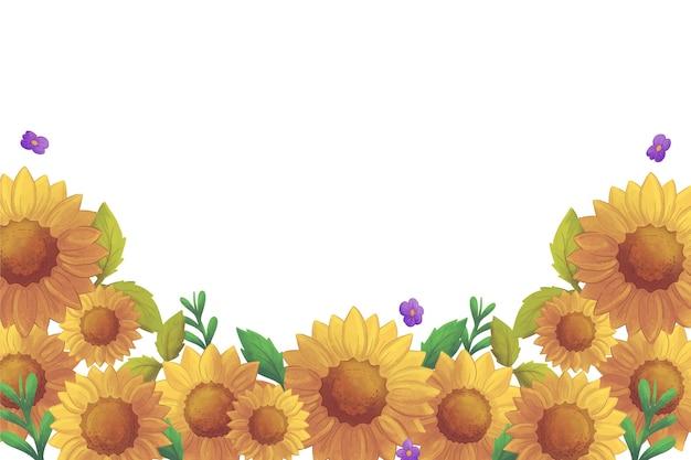 Handgeschilderde aquarel zonnebloem grens
