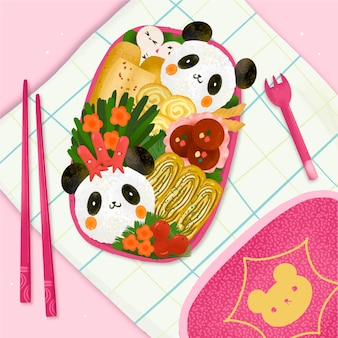 Handgeschilderde bento box illustratie