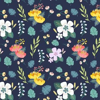 Handgeschilderde bladeren en exotische bloemen patroon