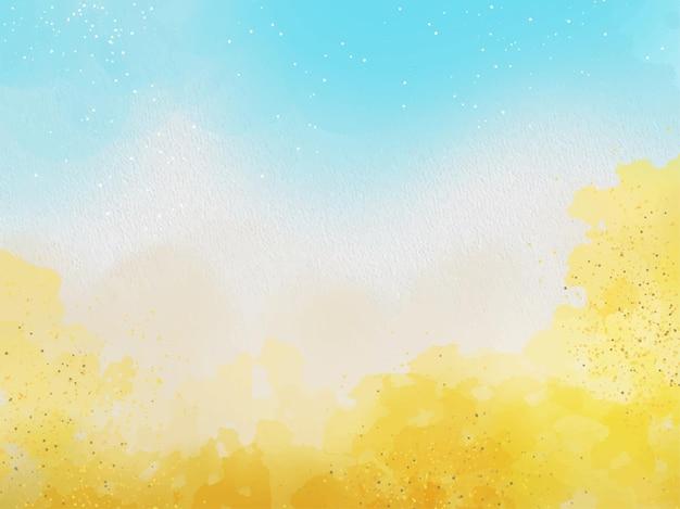Handgeschilderde blauwe en gouden aquarel textuur achtergrond