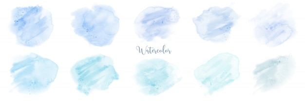 Handgeschilderde blauwe pastel aquarel set