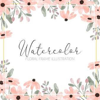 Handgeschilderde bloemblaadje bloemen frame schattig aquarel stijl