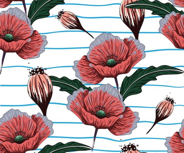 Handgeschilderde bloemen achtergrond