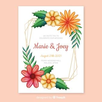 Handgeschilderde bloemen frame bruiloft uitnodiging