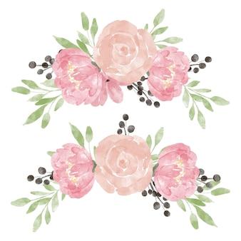 Handgeschilderde bloemen met roze pioen aquarel pastel