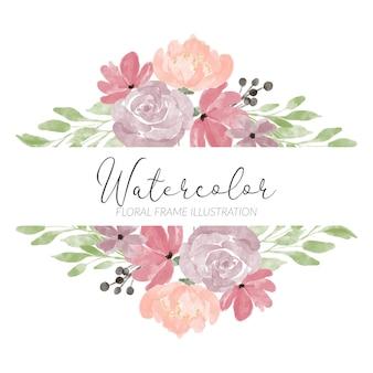 Handgeschilderde bloemen object pastel boeket vierkante rand