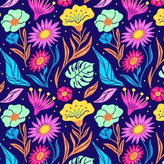 Handgeschilderde bloemen op stoffenpatroon