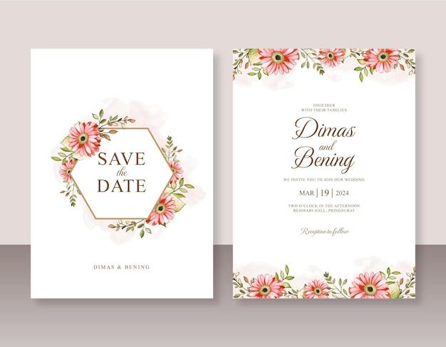 Handgeschilderde bloemenwaterverf voor huwelijksuitnodiging