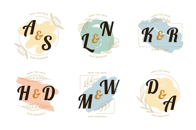 Handgeschilderde bruiloft logo's collectie