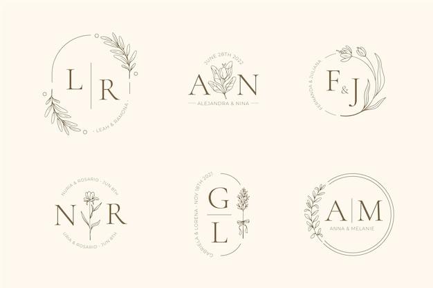 Handgeschilderde bruiloft monogram collectie