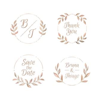Handgeschilderde bruiloft monogram set
