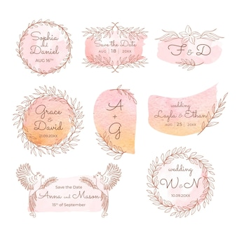 Handgeschilderde bruiloft monogrammen pack