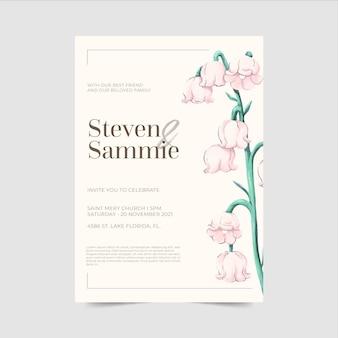 Handgeschilderde bruiloft uitnodiging sjabloon