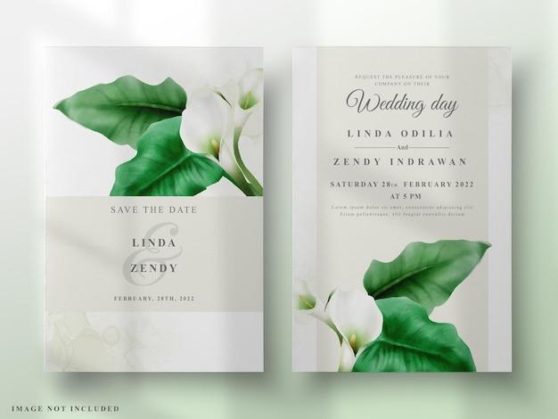 Handgeschilderde cala lelie bruiloft uitnodigingssjabloon