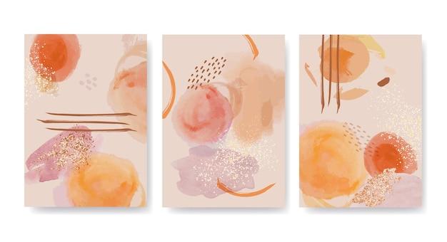 Handgeschilderde covercollectie van aquarel abstracte kunst