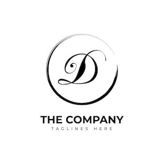 Handgeschilderde d logo sjabloon