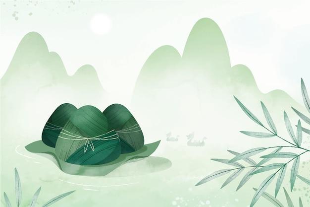 Handgeschilderde de zongzi-achtergrond van de waterverfdraakboot