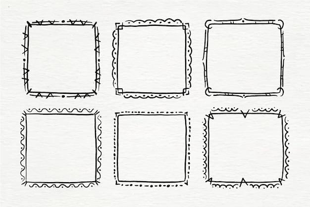 Handgeschilderde doodle frame-collectie