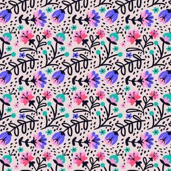 Handgeschilderde exotische bloemenpatroon