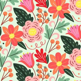 Handgeschilderde exotische bloemmotief