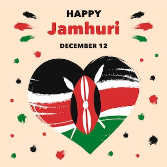 Handgeschilderde gelukkige jamhuri-dag
