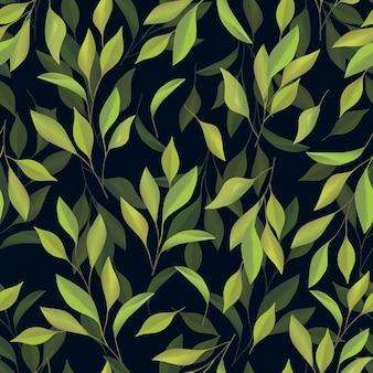 Handgeschilderde groene blad naadloze patroon