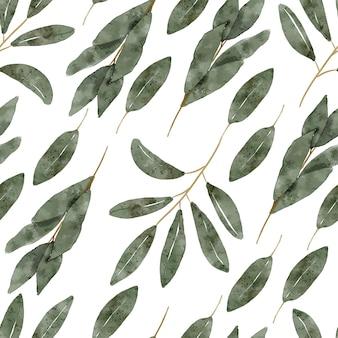 Handgeschilderde herhaal patroon met groen gebladerte aquarel illustratie