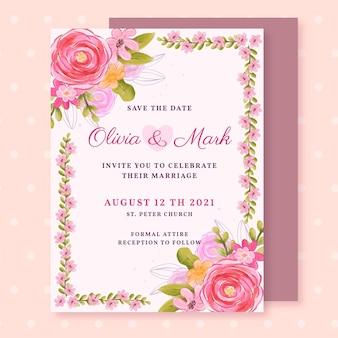 Handgeschilderde huwelijksuitnodiging