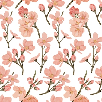 Handgeschilderde kersenbloesem bloem illustratie aquarel lente terugkeerpatroon