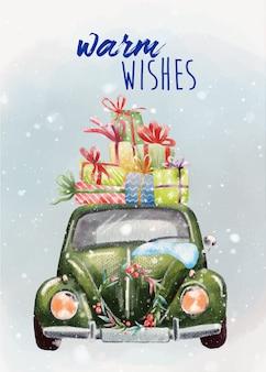 Handgeschilderde kerstkaart met groene retro auto