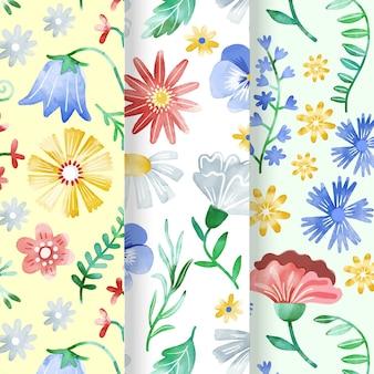 Handgeschilderde lente patroon collectie