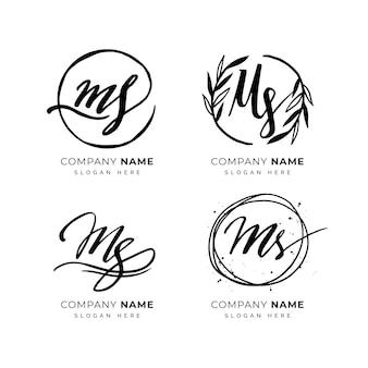 Handgeschilderde ms-logo's set