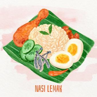 Handgeschilderde nasi lemak voedsel geïllustreerd