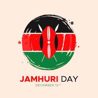 Handgeschilderde nationale vlag en symbool van de kenia jamhuri-dag