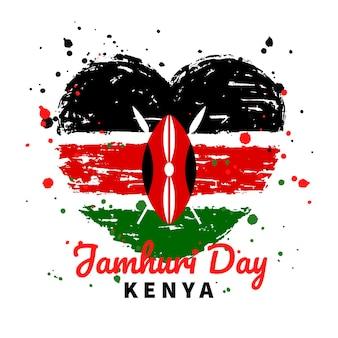 Handgeschilderde nationale vlag van kenia jamhuri day hartvormige