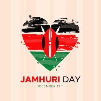 Handgeschilderde nationale vlag van kenia jamhuri day in een hart