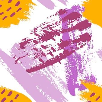 Handgeschilderde penseelstreken in mosterd, paars, lila en wit. naadloze vector abstracte patroon, achtergrond van textuur penseelstreken en vlekken, stippen voor stof ontwerp, verschillende webdesigns