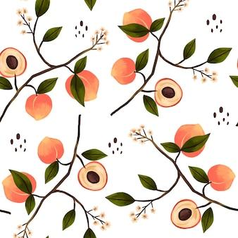 Handgeschilderde perzik patroon ontwerp