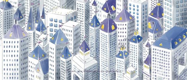 Handgeschilderde potlood lijntekening aquarel stijl hoge hoek schilderij stadscentrum gebouwen gebouwen druk maar helder