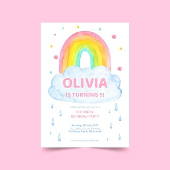 Handgeschilderde regenboog verjaardagsuitnodiging Gratis Vector