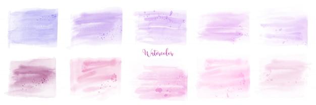 Handgeschilderde roze paarse pastel aquarel set