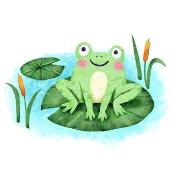 Handgeschilderde schattige kikker illustratie