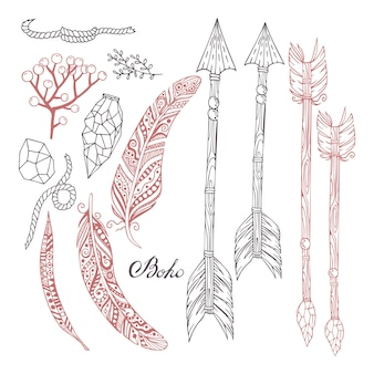 Handgeschilderde set in boho-stijl met pijlen, veren, planten, stenen en een touw.