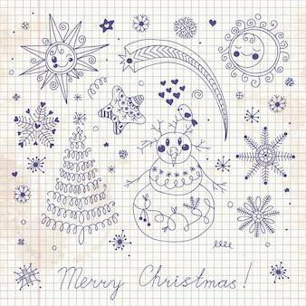 Handgeschilderde set kerstelementen voor ontwerp