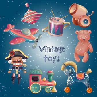 Handgeschilderde set van schattige retro speelgoed