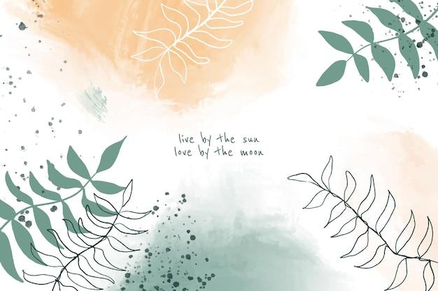 Handgeschilderde stijl abstract bladeren achtergrondontwerp