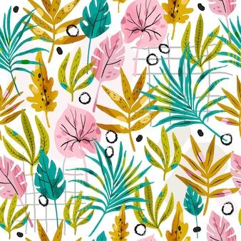 Handgeschilderde stijl abstracte bladeren patroon