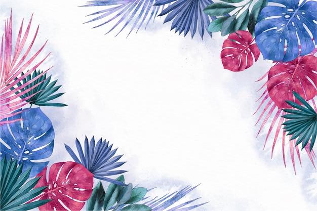 Handgeschilderde tropische bladeren achtergrond