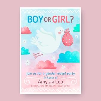 Handgeschilderde uitnodiging voor gender-onthulling in aquarel