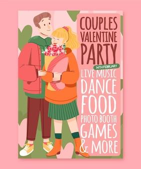 Handgeschilderde valentijnsdag partij folder sjabloon